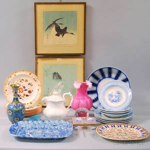 Assorted Lot of Ceramic Glass and Cloisonne and Two Japanese Woodblock Prints