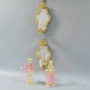Pair of Venetian Glass Figures and Single Light Mirrored Wall Sconces