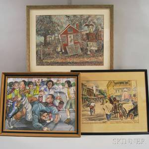 Three Framed Works American School 20th Century Antiques Shop