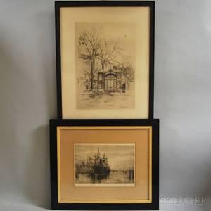Two Etchings Charles Herbert Woodbury American 18641940 Harvard Yard