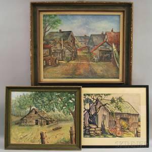 Three Framed Rural Scenes FK Krieger American 20th Century Man in the Street