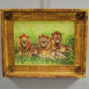 David Stribbling British b 1959 A Pride of Lions