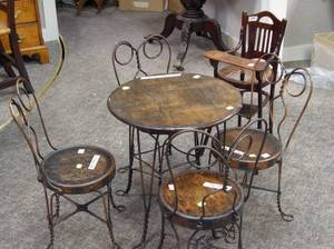 FivePiece A H Andrer  Co Wire and Oak Ice Cream Parlor Set and a Dolls Bentwood High Chair