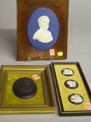 Four Framed Wedgwood Jasper Plaques and a Framed Basalt Portrait Plaque