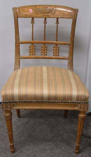 Louis XVI Style Upholstered Carved Beechwood Side Chair