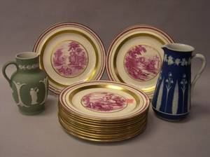 Set of Twelve Wedgwood Gilt and Magenta Landscape Transfer Decorated Plates and Two Jasper Dip Jugs