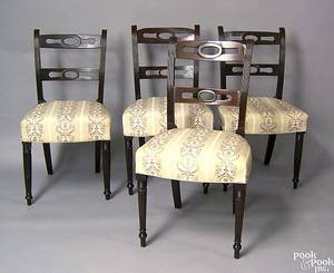 Set of 4 Sheraton mahogany side chairs 19th c