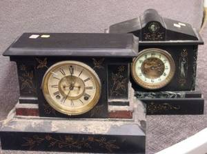 French Slate and Marble Mantel Clock and an Ansonia Cast Iron Mantel Clock