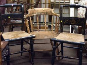 Windsor Ash Captains Chair and Two Painted Hitchcocktype Side Chairs