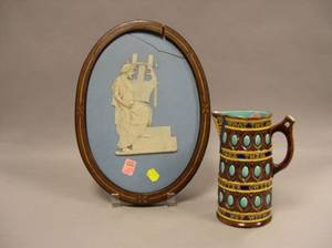 Wedgwood Majolica Motto Jug and Solid Light Blue Jasper Oval Plaque