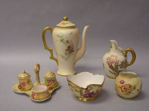 Five Royal Worcester Floral Decorated Porcelain Table Items