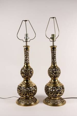 Pair of Brass Trench Art Lamps Korean War
