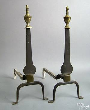 Pair of Federal wrought iron knife blade andirons late 18th c