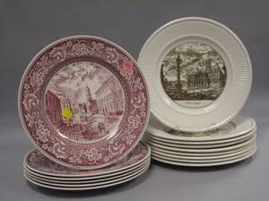 Set of Six Wedgwood Red and White Old New York Pattern Transfer Decorated Dinner Plates and a Set of Nine Sepia and White Piranesi Patt