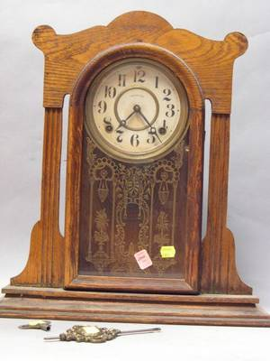 Ingraham Clock Co Oak Shelf Clock