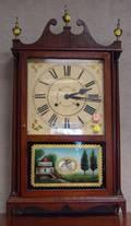 Reproduction Mahogany Pillar and Scroll Mantel Clock