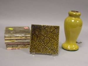 Set of Seven J  JG Low Gloss Olive Green Glazed Molded Pottery Tiles and a Small Arts  Crafts Yellow Glazed Pottery Table Lamp Bas