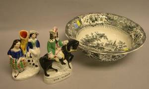 Two Staffordshire Figures and a T Mayer Black and White Olympic Games Spanish Bullfight Transfer Decorated Staffordshire Bowl