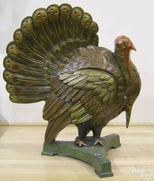 Cast iron and painted turkey display figure early 20th c