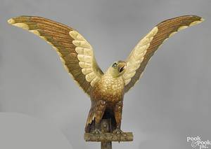 Cast metal spread winged eagle early 20th c