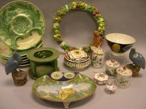 Twelve Pieces of Continental Faience Ware and a Set of Six French Majolica Serving Plates