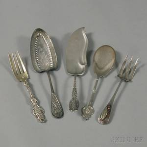 Five Sterling Silver Flatware Serving Items