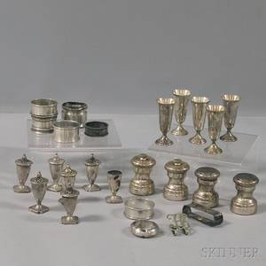 Group of Assorted Sterling Silver Napkin Rings Cordials and Shakers