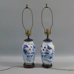 Pair of Blue and White Chinese Porcelain Vasiform Lamps