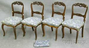 Set of Four Victorian Upholstered Carved Walnut Parlor Side Chairs