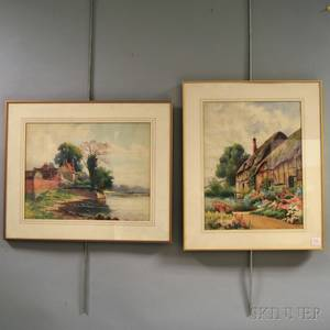 Arthur E Ward American 18631928 Two English Cottage Scenes