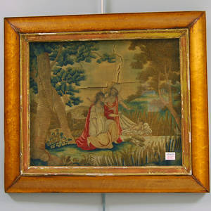19th Century Framed Silk Needlework Picture of the Discovery of Moses