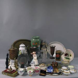 Large Group of Assorted Wood Metal Glass and Ceramic Items
