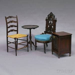 Two Side Chairs a Mahogany Piecrust Candlestand and Oak Coal Hod
