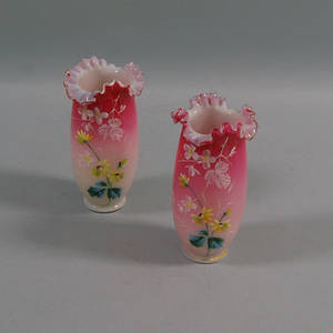 Pair of Floraldecorated Casedglass Vases