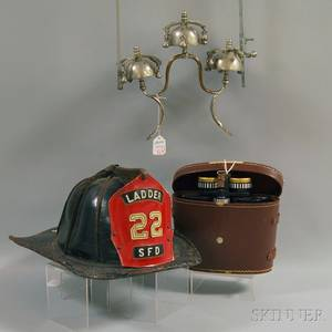 Leather Fire Helmet Cased Pair of Binoculars and Chromed Metal Horse Bells