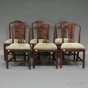 Set of Six Chippendale Mahogany Dining Chairs with Upholstered Slip Seats