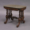 Renaissance Revival Marble Top Mahogany and Walnut Veneer Side Table