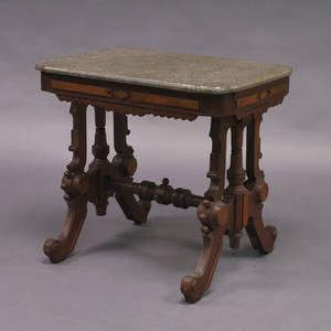Renaissance Revival Marble Top Mahogany and Walnut Veneer Side Table