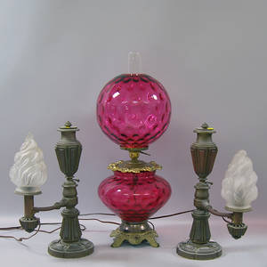Pair of Bronze J  I Cox Argand Lamps and a Ruby Glass Gone With the Wind Lamp