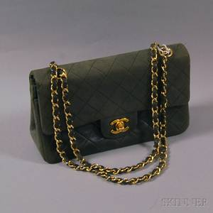Chanel Olive Green Quilted Lambskin Handbag