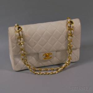 Chanel White Quilted Lambskin Handbag