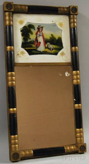 Federalstyle Partebonized and Goldpainted Splitbaluster Mirror with Reversepainted Glass Tablet Depicting a Girl with a Lamb