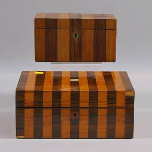 Veneered Wood Tea Caddy and Sewing Box