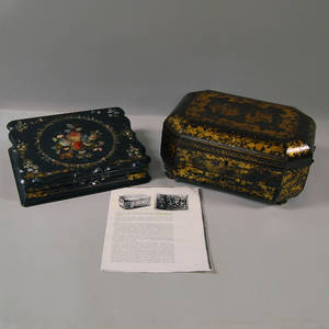 Chinese Export Black Lacquered Sewing Box and Lap Desk