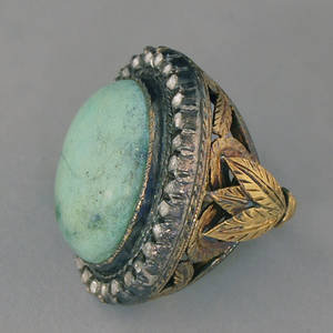 Antique 18kt Gold Sterling Silver Turquoise and Diamond Ring