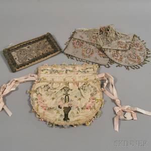 Three Embroidered Silk Purses