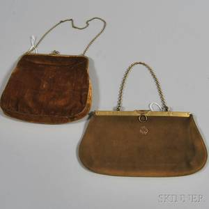 Gold Silk Velvet Evening Purse with Goldtone Hardware and Inset Green Stones