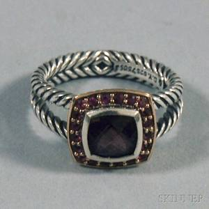 David Yurman Sterling Silver 18kt Gold Ruby and Pink Sapphire Cabletwist Ring