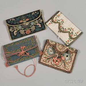 Four Embroidered Silk Purses