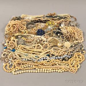 Large Group of Faux Pearl Crystal and Paste Jewelry